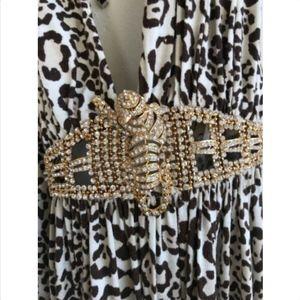 SKY Maxi Halter Dress Small Leopard Rhinestone